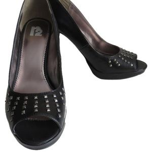 Shoes - Nwt Black Peep Toe With Silver Studs Heels Size 8